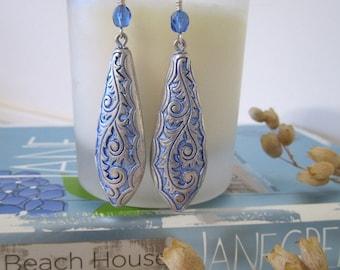 Teardrop - Drop Earrings - Blue Patina