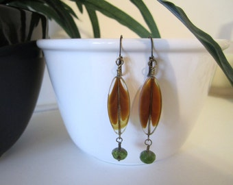 Amber Glass Bead Earrings
