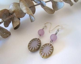 Oval Czech Glass Earrings - (in Lavender/Purple)