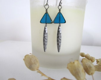 Triangle Bead Dangle Earrings - Blue - with Antique Silver Dagger Drops