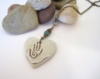 Stone Heart Necklace with Hamsa