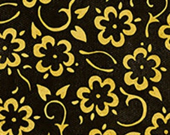 Flowers Black and Gold, She Who Sews, J Wecker Frisch, Quilting Treasures, Sewing Fabric, Flower Fabric, Quilting Cotton, Floral