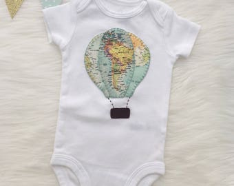 Hot air ballon baby bodysuit, world map hot air balloon- personalize with your baby's name