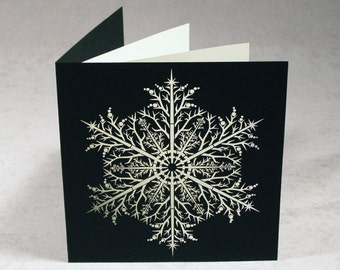 snowflake christmas card set unique holiday card set of 6 with laser cut intricate snowflake on beautiful paper snowflake