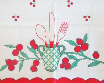 Tea Towel Cherry Pattern