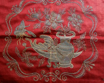 Antique Chinese Textile Embroidery Panel on Silk