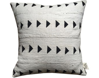MEROE White Mud Cloth/ African Mudcloth Pillow Covers (various sizes)