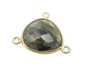 S120B2 Petite Gemstone Triangle Triple Bail Pendant with Electroplated 24k Gold Edge