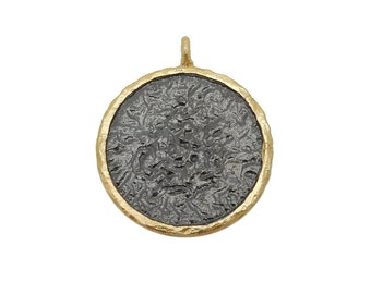 Gold coin pendant etsy hammered coin pendant round black toned brass pendant with gold plated edge bic s68b18 06 aloadofball Image collections