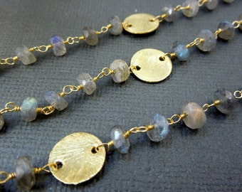Labradorite Wire Wrapped Beaded Chain with gold plated disks - Gold plated Rosary Style Chain -Chain per foot (CHN-127)