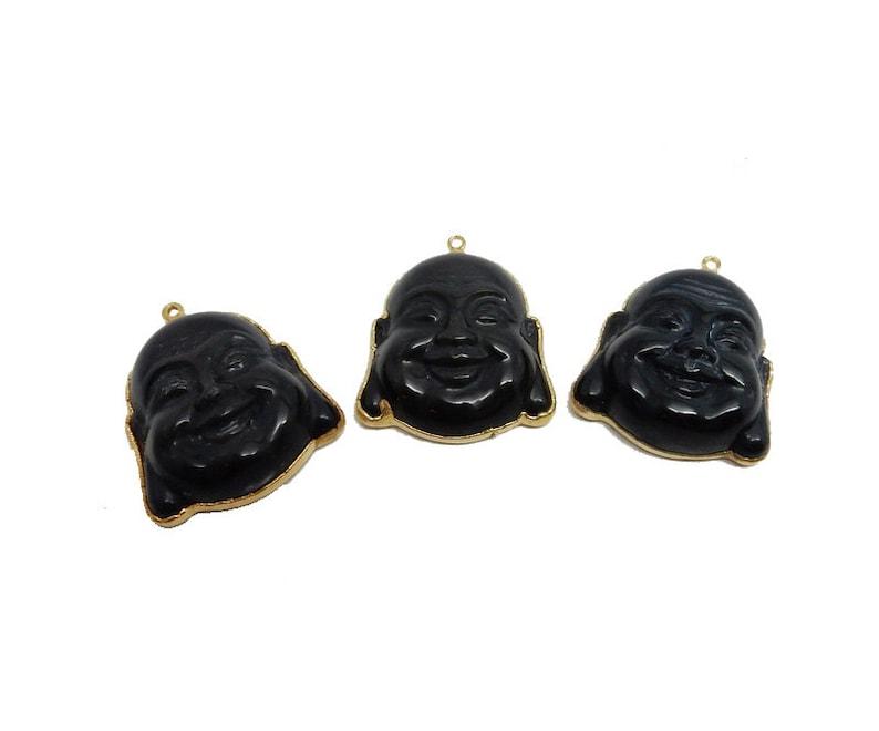 S95B17-02 Black Onyx Buddha Pendant with Electroplated 24k Gold Edge