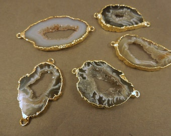 Agate Druzy Slice - Electroplated 24k Gold Edged Agate Slice Drusy Pendant - Drussy crystal NeW DoUble BaiL