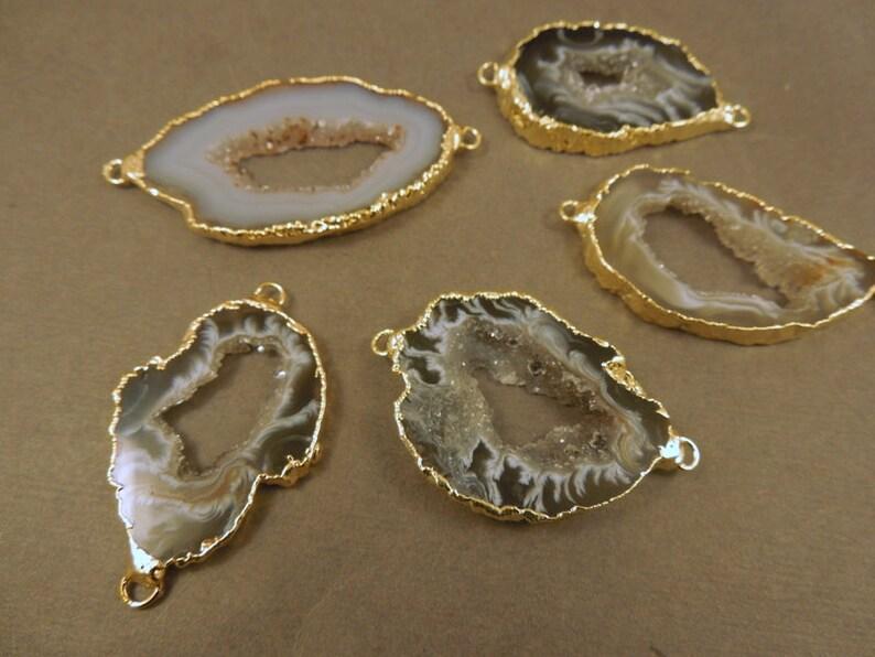 Agate Druzy Slice  Electroplated 24k Gold Edged Agate Slice image 1