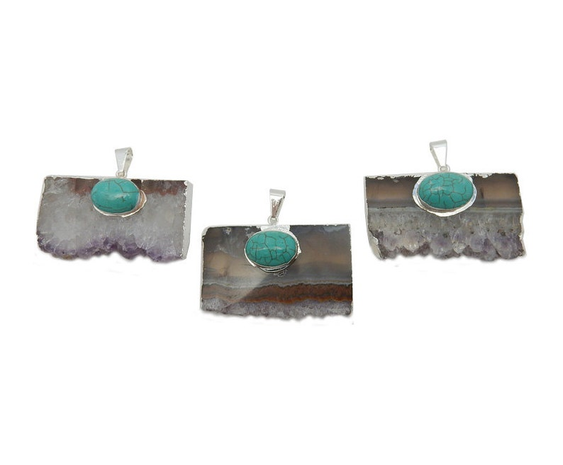 Lovely Amethyst Slice Pendant with Turquoise Howlite Oval Accent and Electroplated Silver Edge ASP S93B12-09