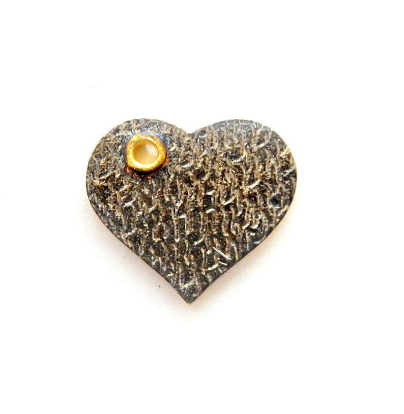 Oxidized Sterling Silver Hammered Pendant with Gold Bail S70B15-06 Heart Pendant