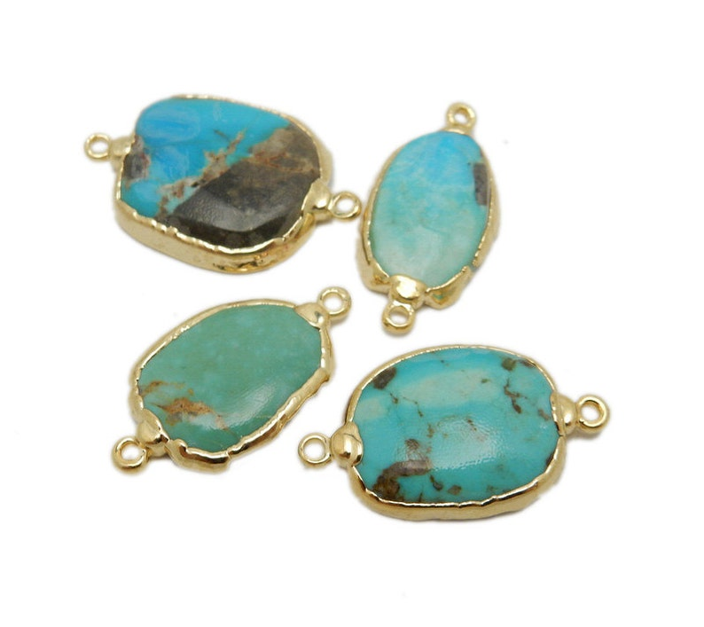 Raw Turquoise Double Bail Petite Freeform Pendant with Electroplated 24k Gold Edge S87B12-12