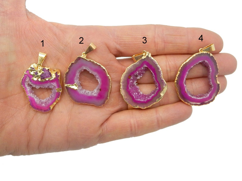 YoU CHooSE Pink Agate Druzy Slice Freeform Pendant with Electroplated 24k gold Edge Lot G-1178