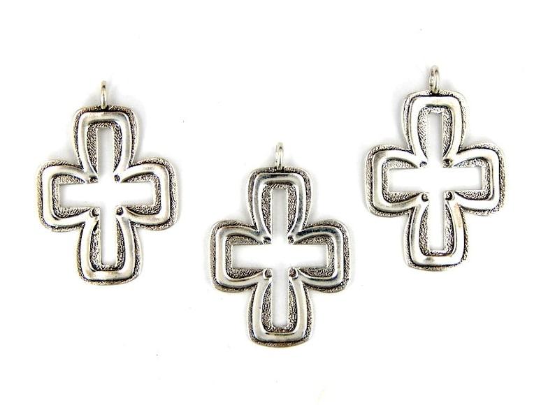 S82B6-11 Silver Cross Pendant Cast in Sterling Silver Charm