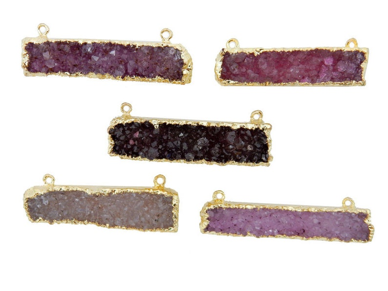Pink Druzy Rectangle Bar Double Bail Connector Pendant with 24k Gold Electroplated Edges S94b11-07
