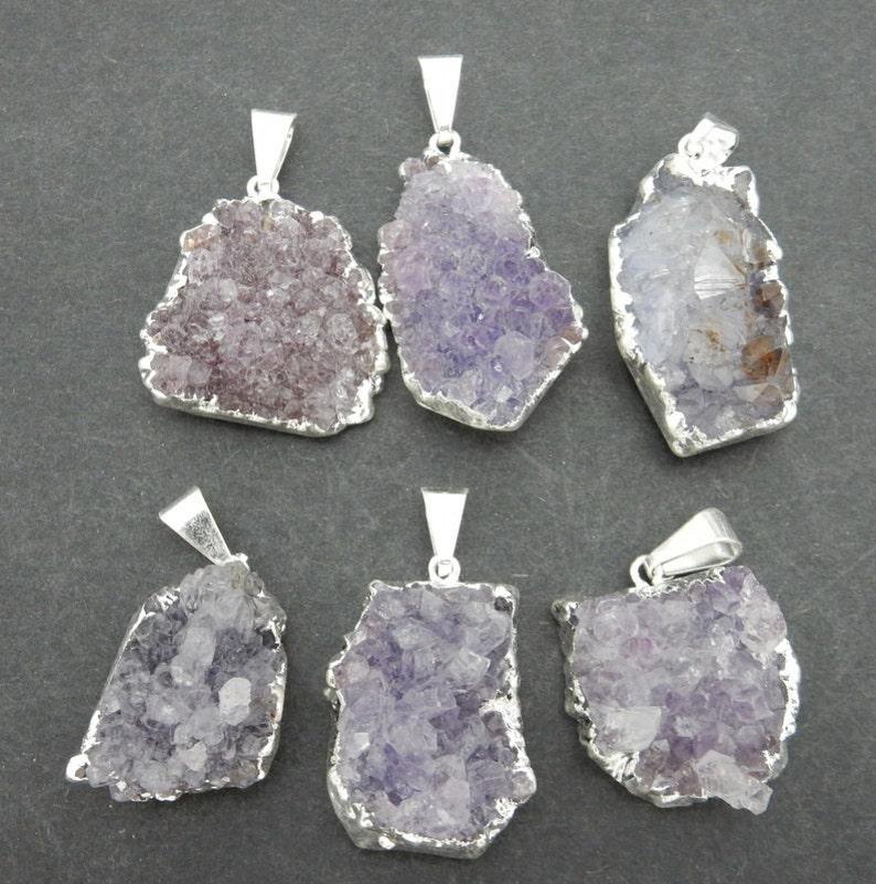 5 Druzy Pendants Freeform Purple Druzy Pendant with Electroplated Silver Edge Small DDZ S100B20-02 BULK LOT Of 5