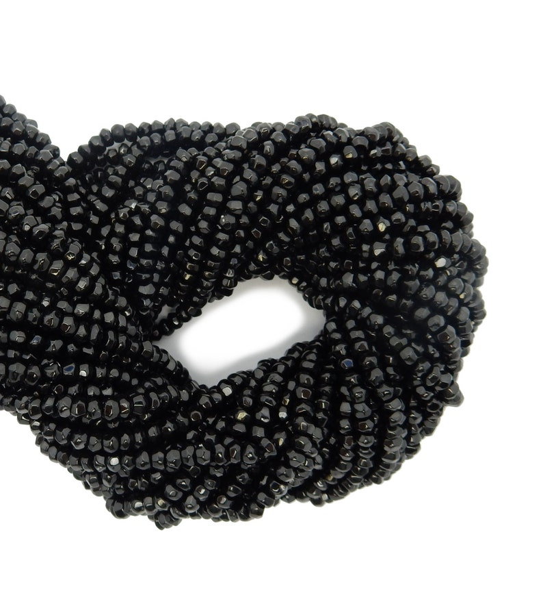 FIVE STRANDS of Tiny Black Spinel Rondelle Beads - Black Spinel Beads 5 S104B10-02