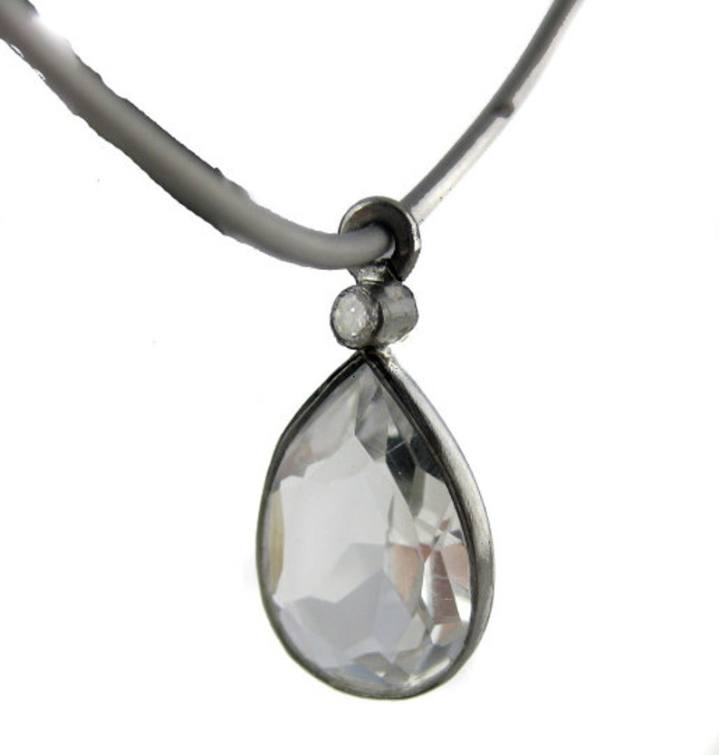 S6B6-09 Silver Earrings Antiqued Sterling Silver Hoop with Crystal Quartz Teardrops Earrings