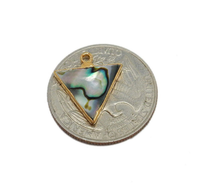 Abalone Triangle Triple Bail Pendant with Electroplated 24k Gold Edge S8B12-06