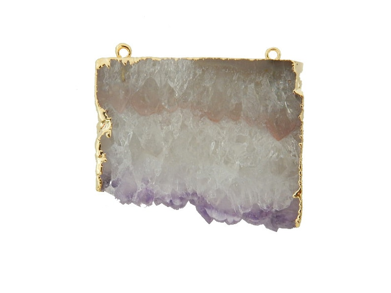 Large Amethyst Slice Druzy Double Bail Pendant with Electroplated 24k Gold Edge ASP S87b11-03