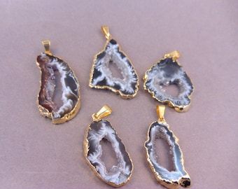 5 Agate Druzy Slices - Electroplated Gold Edged Agate Slice Drusy Pendant - Drussy crystal - BUY in BULK and SAVE (S121B2)