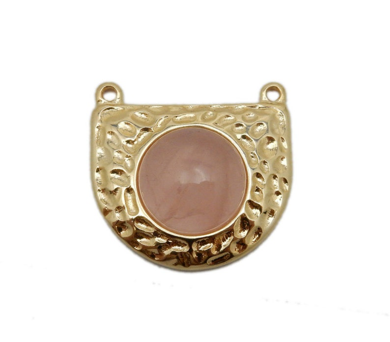 S110B3-02 HGG Gold Plated Shield with Rose Quartz Accent Hammered Shield Double Bail Pendant with Gemstone Accent