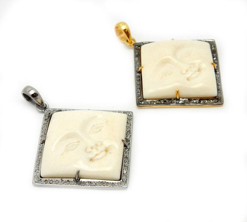 Pave Diamond Moon Pendant with Oxidized Sterling Silver Bezel Pave Diamond EX32-09 YOU CHOOSE