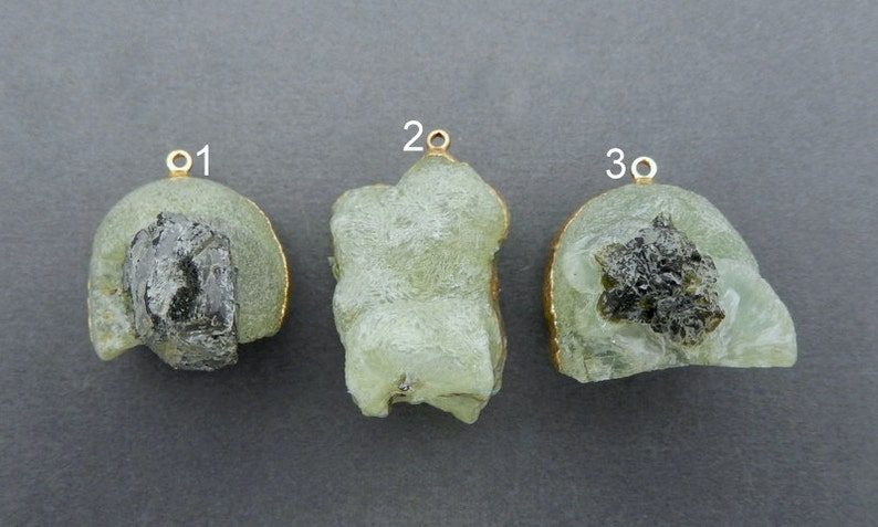 You Choose LOT G-42 Epidote edged in 24k Electroplated gold Pendant