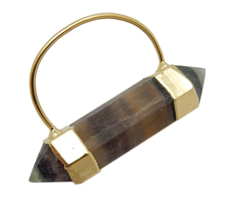 S51B14-05 Fancy Rainbow Fluorite Double Terminated Point Pendant with Electroplated 24k Gold Cap and Bail
