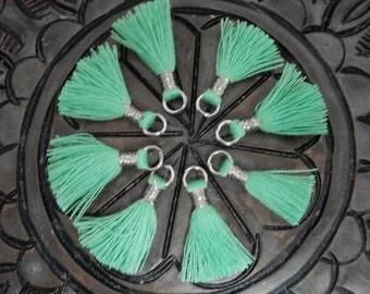 Tiny Tassel Pendant--  Green Colored Tassel Pendant with Silver Tone Bail - (S36B24-09)