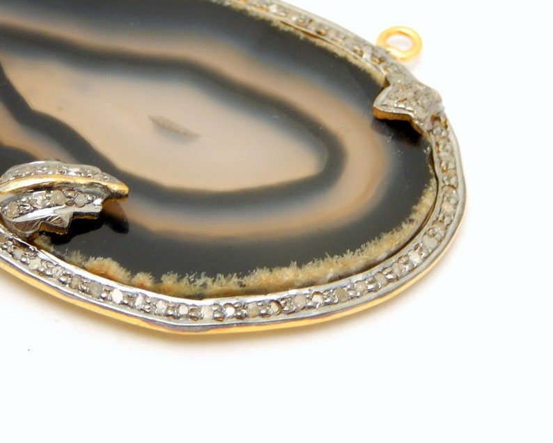 EX9-11E BlackWhite Agate Druzy Cabochon set in an Gold Over Sterling Silver and Pave DIAMOND Bezel Double Bail Pendant