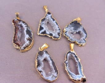 Agate Druzy Slice - Electroplated Gold Edged Agate Slice Drusy Pendant - Drussy crystal (S41B4b)