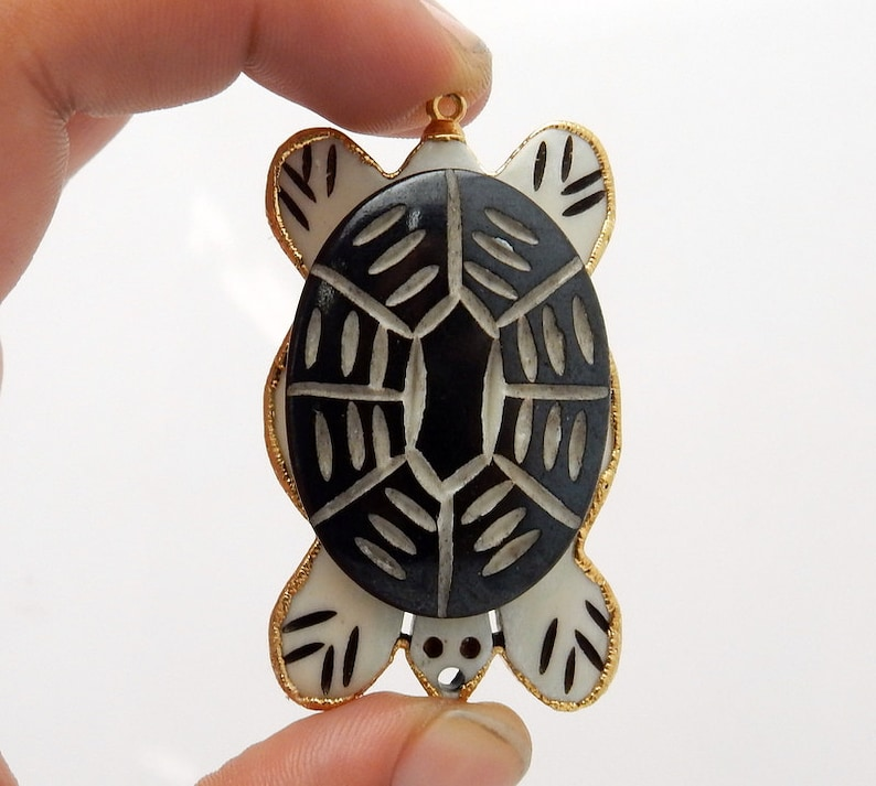 Carved Bone Turtle Pendant With 24k Gold Electroplated Edge And Bail S84b4 01