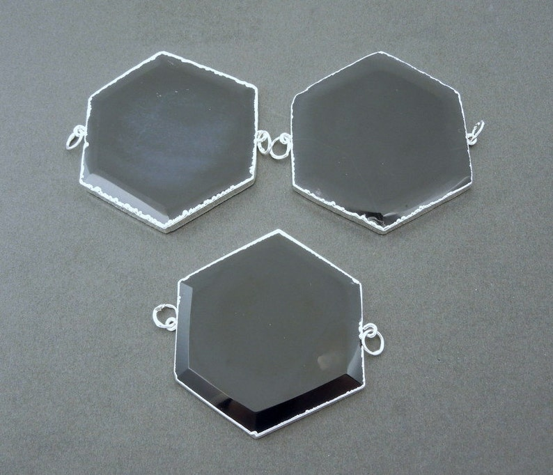 S51B13-02 Large Black Agate Hexagon Double Bail Pendant with Silver Electroplated Edges