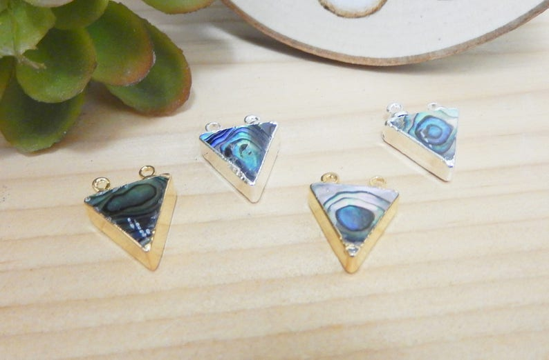 S8B25-05S8B25-06 Petite Abalone Triangle Electroplated in 24k Gold and Silver Double Bail