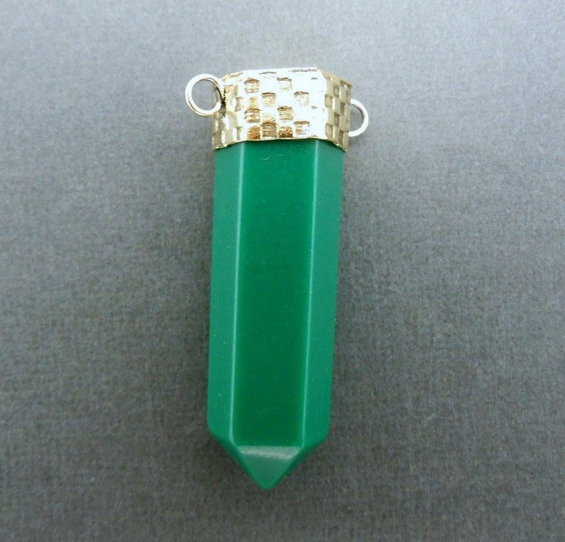 Green Colored Point Pendant with Brass Cap and Bails S51B2-02 Point Pendant