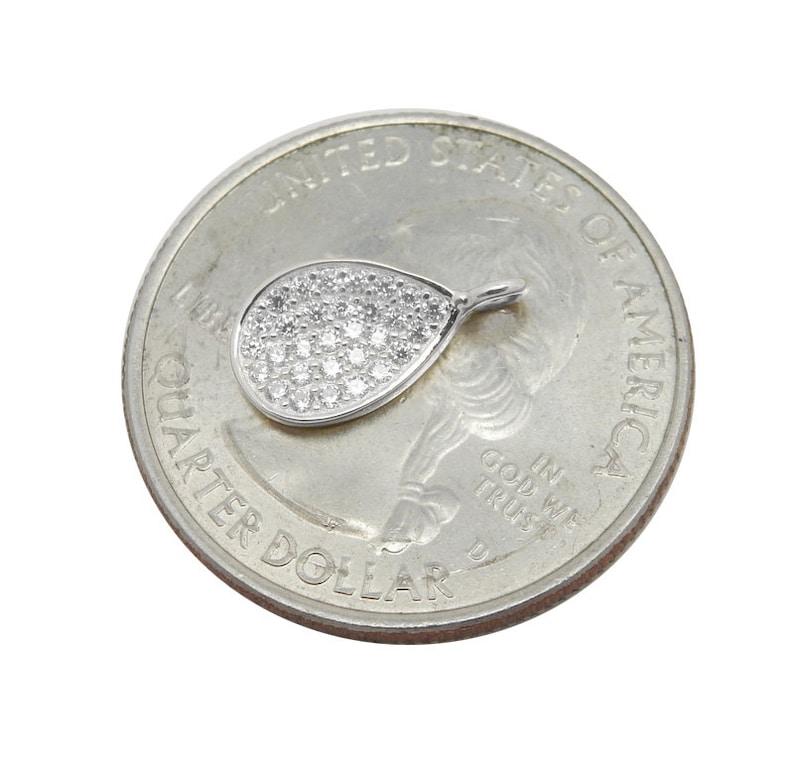 Petite Sterling Silver Teardrop Pendant with Rhinestone Cz Accents LA-169