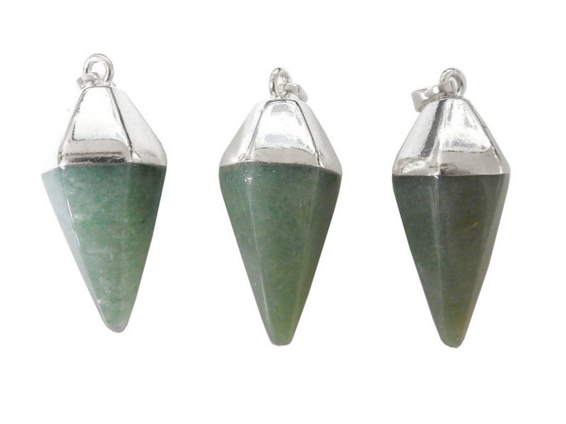 S52B24b-08 Aventurine Spear Pendant with Electroplated Silver Cap and Bail