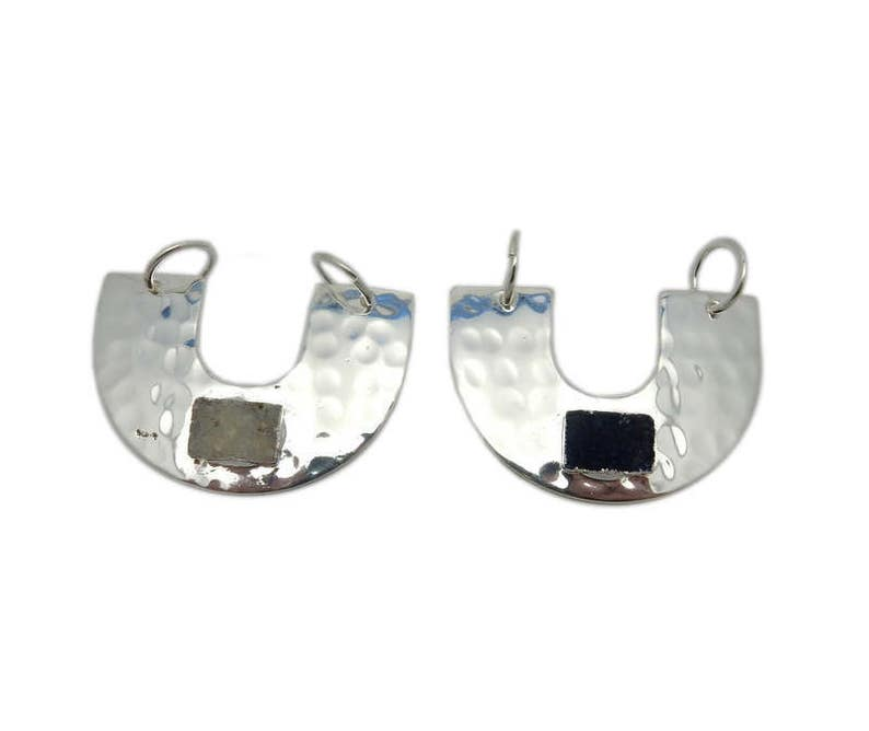 S118B7-14 Large U Crescent Double Bail Pendant with Rectangle Druzy Accent and Electroplated Silver