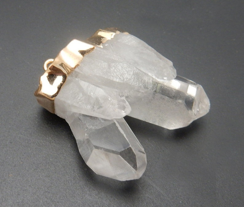 S36B22-09 Crystal Quartz Point Cluster Double Bail Pendant with Electroplated 24k Gold Cap and Bail