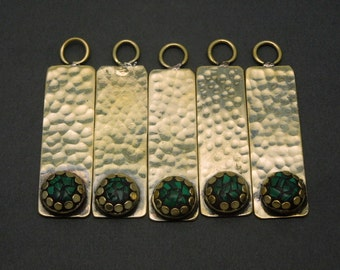 Brass Bar Pendant with Round Malachite Mosaic - Brass Hammered Bar Pendant - (S18B18-01)
