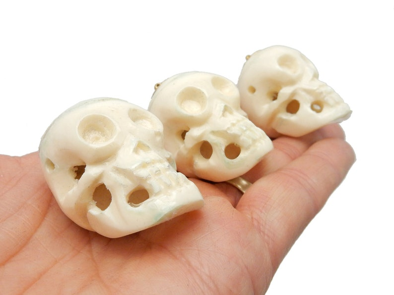 YoU CHooSE Carved Bone Skull Pendant with 24k Gold Electroplated Top and Bail S65b2-35