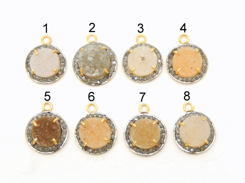 EX23-08 Pave Diamond Round Druzy Cabachon Charm Pendant with Gold Over Oxidized Sterling Silver Bezel You Choose