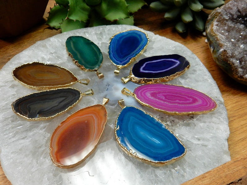 Agate Slice Druzy Pendant electroplated in gold  Druzy Agate image 0