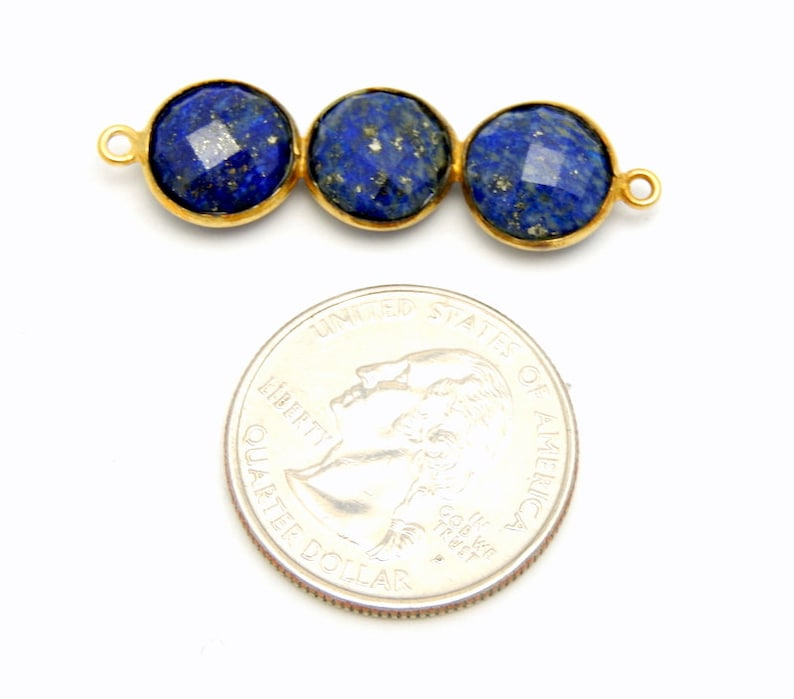 S34B10-05 Lapis Lazuli Triple Round Pendant Connector Three 10mm Gold Over Sterling Round Attached Bezels Double Bail Pendant