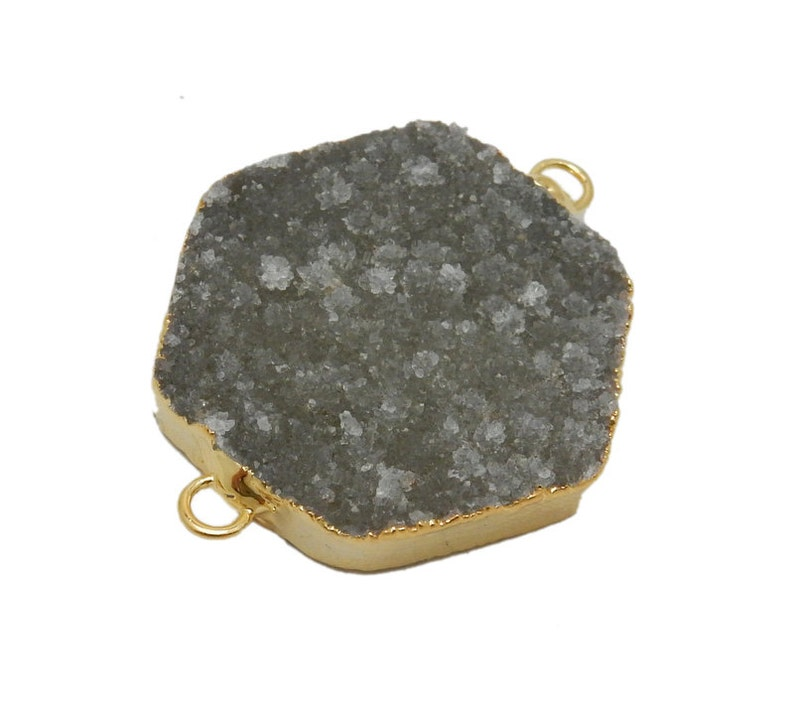 S67B14-03 Druzy Hexagon Double Bail Pendant with Electroplated 24k Gold Edge
